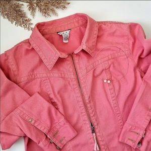 Pink cabi zip up denim collared jacket size medium